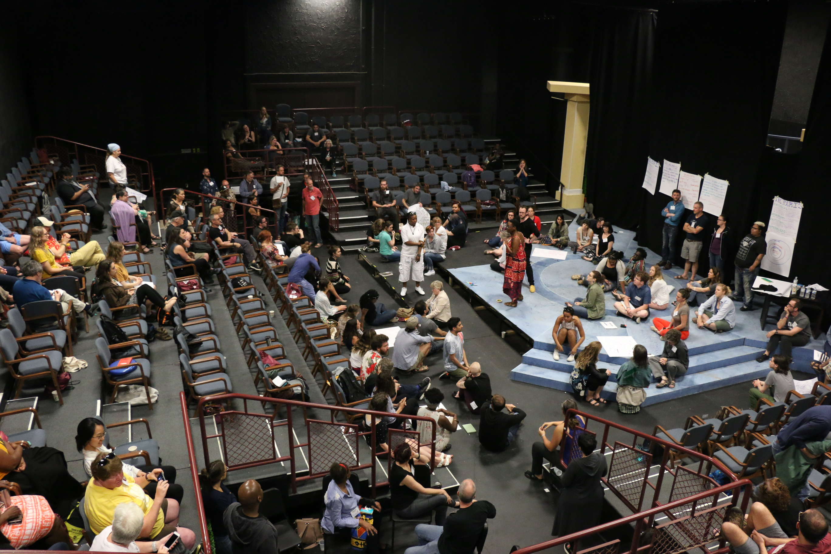 Photo of the Dialogue on Race and Racism during the 2018 Pedagogy and Theatre of the Oppressed Conference.