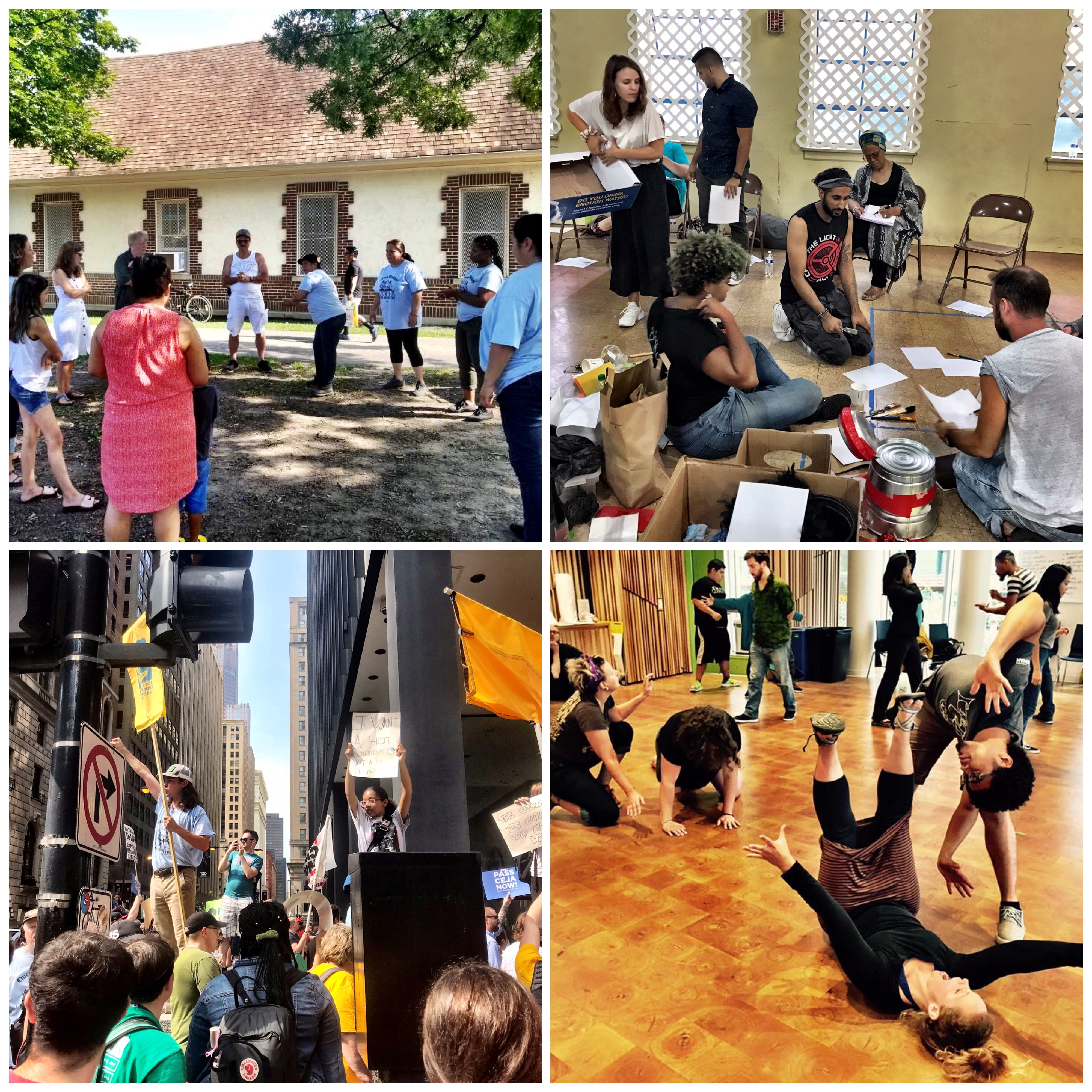 Vibrant collage of photographs of workers, organizers, activists, educators, students, and artists in action in various indoor and outdoor community settings in Chicago—in the street, in a park, in a rehearsal space, in an education center.